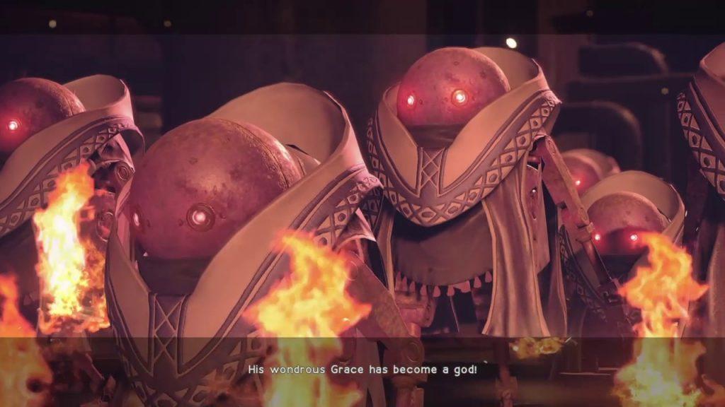 """""""We shall become as gods."""" Die religiöse Durchdringung des Spiels ist schwer zu übersehen: Auch die Maschinen entwickeln Kulte. NieR: Automata, Square Enix."""