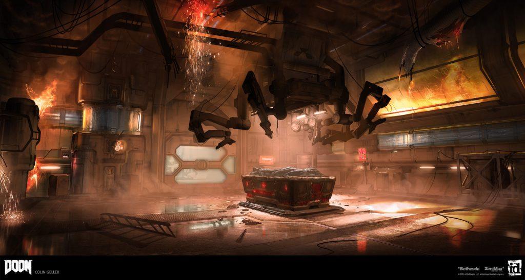 Konzeptzeichnung des Startraums von DOOM (2016) mit Altar. Collin Geller, id Software.