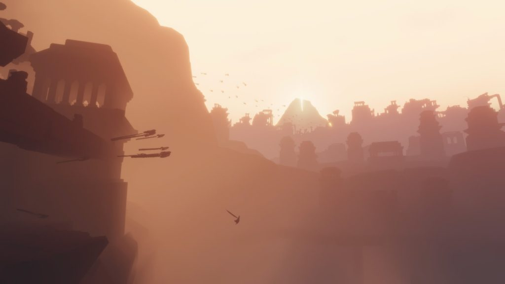 Als Ziel der Reise steht der heilige Berg immer erhaben am Horizont der Spielwelt.