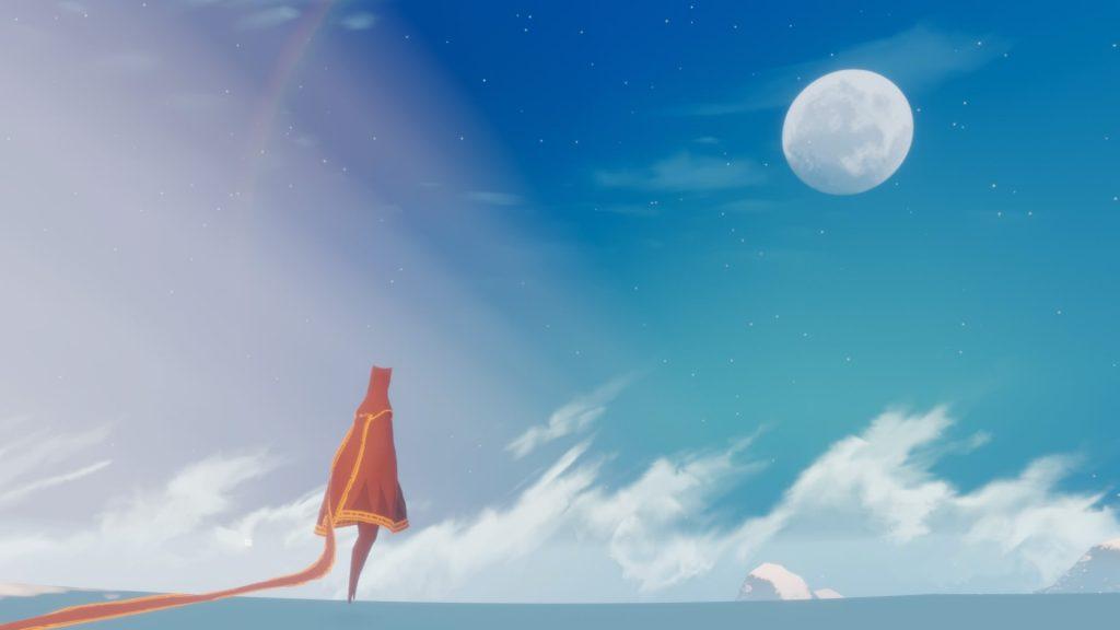 Himmel und Himmelskörper stehen im Fokus des letzten Teils der Reise von Journey. Schlussendlich steigt der Avatar als Stern gen Himmel empor und fällt als Sternschnuppe zurück in die Wüste.