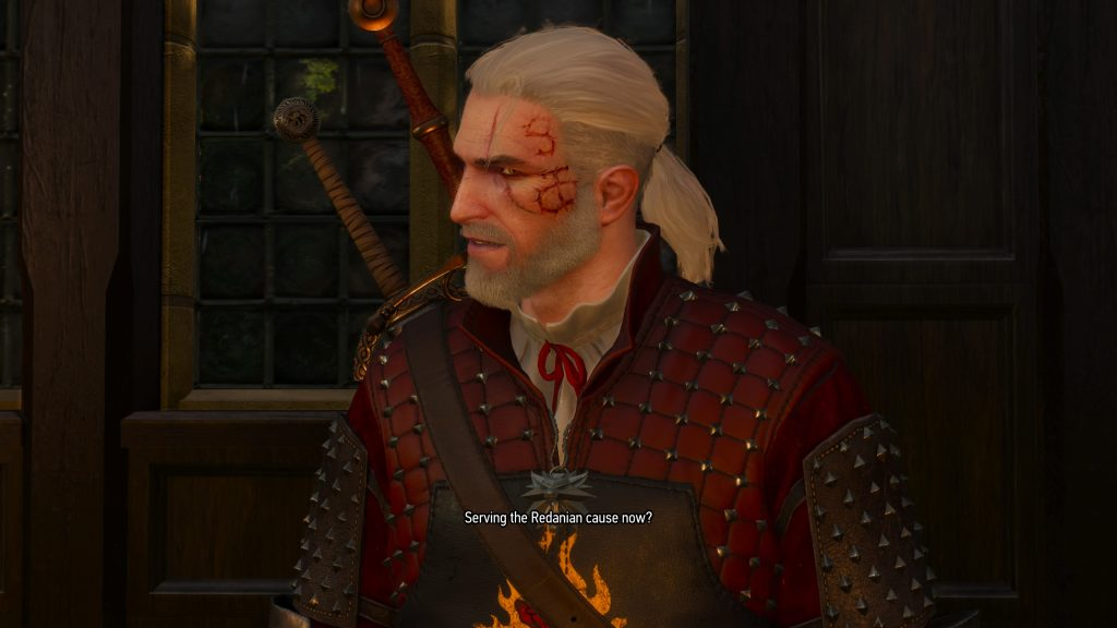 Die von Gaunter O'Dimm auf Geralts Schläfe gebrannten Zeichen. Quelle: The Witcher 3: Wild Hunt, Addon Hearts of Stone, PS4.