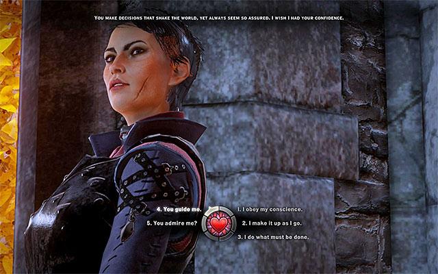 Bauchentscheidungen: Die optischen Marker in Dragon Age: Inquisition signalisieren die Stoßrichtung der textuellen Schlagworte. Quelle: gamespressure.com.