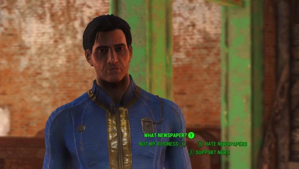 Mit seinem minimalistischen Dialograd hat Bioware oft Kritik auf sich gezogen. Ähnlich ergeht es auch Bethesda mit Fallout 4 (2015). Die textuellen Diskursmöglichkeiten sind hier auf stark verkürzte, paraphrasierte Schlagworte beschränkt. Quelle: startlr.com.