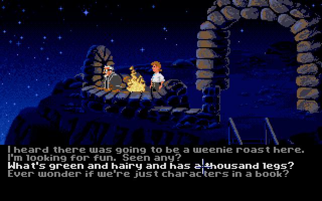 Die Diskursmöglichkeiten in den Adventures des 2013 aufgelösten Studio Lucas Arts wurden durch ihren selbstironischen Witz legendär. Die Texte? Ebenfalls vollständige Sätze. Hier ein Beispiel aus The Secret of Monkey Island (1990). Quelle: dustbin.mixnmojo.com.