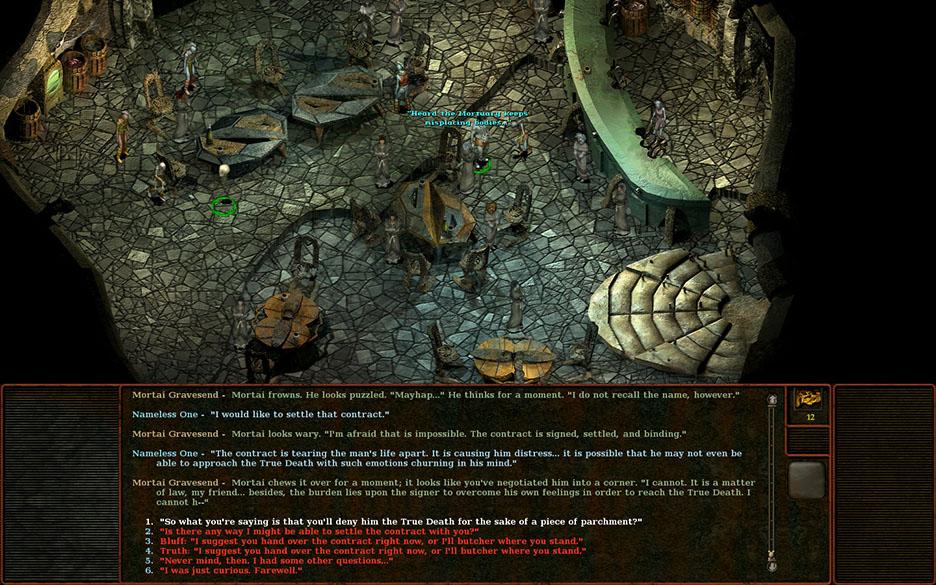 In den 90ern liest man noch: Black Isles Rollenspiel Planescape Torment (1999) hat sich die Textvernarrtheit quasi auf die Fahne geschrieben. Antwortmöglichkeiten in diesem Spiel sind präzise,mit quasi-literarischem Anspruch formuliert und äußerst umfangreich. Quelle: killapenguin.com.