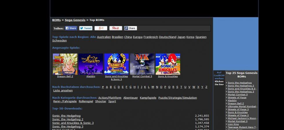 ROM-Archive stellen zahlreiche Retrospiele zum Spielen auf Emulatoren zur Verfügung - illegal. Quelle: coolroms.com