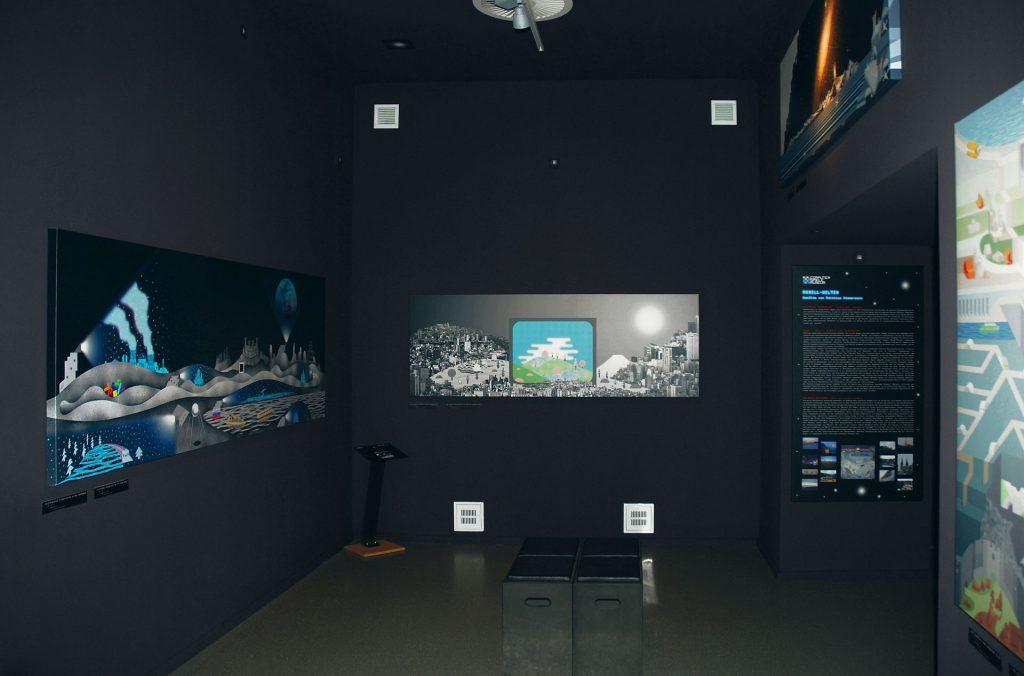 Austellung von Zimmermanns Kunst im Computerspielemuseum Berlin. Quelle: Presskit.