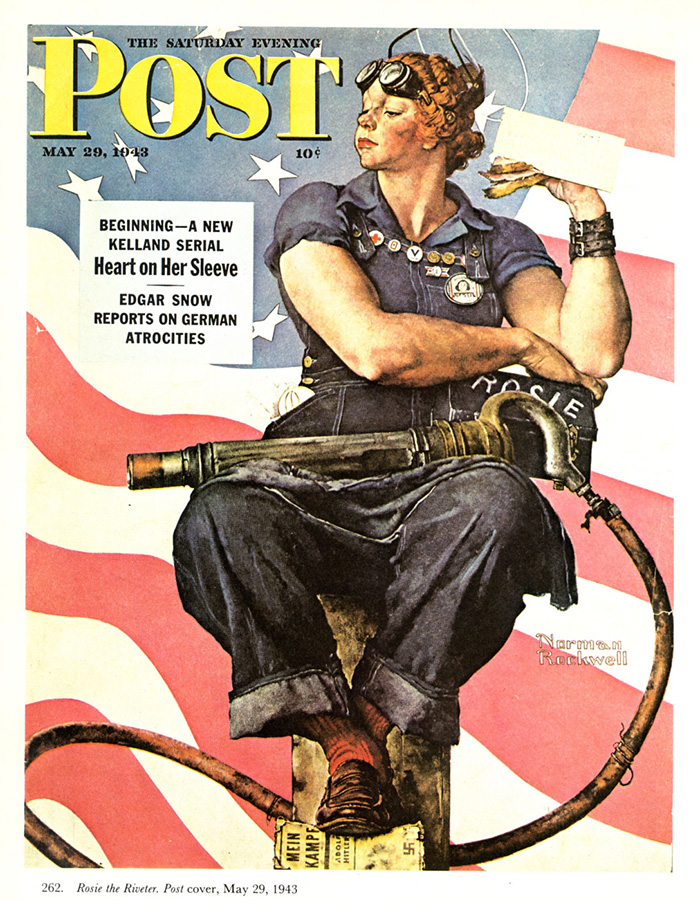"Norman Rockwell, ""Rosie the Riveter"", 1943. Cover der Saturday Evening Post. Quelle: Norman Rockwell Museum, nrm.org."
