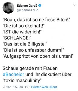 Etienne Gardés Tweet über lästernde Frauen.