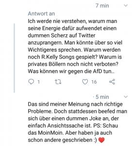 Antwort auf die Kritik eines Journalisten an Gardés Tweet von einer Journalistin.