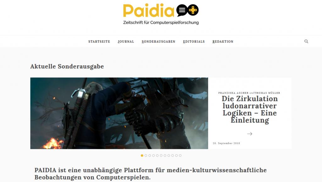 Webseiten wie paidia.de und gamestudies.org leisten mit Sammelbänden und Artikeln wichtige Beiträge zum Game Studies-Diskurs.