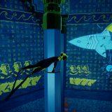 Ein Unterwasser-Wandgemälde mit vielen Bildschrift-Symbolen